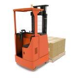 Poussoir industriel orange de fourchette pour la cargaison d'isolement sur le blanc illustration 3D Photo libre de droits