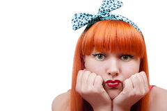Pout her lips Stock Photography