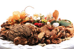 Pout pourri with flowers and dry fruits Stock Photo
