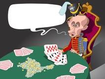 Poutine à cornes dans la chemise brune sur le podium Image libre de droits