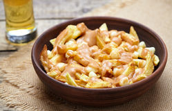 Poutine Canadian fast food with fries, cheese, gravy and beer Stock Images