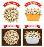 Poutine canadian food illustration. Text is outline version 10 Poutine is a canadian fast food meal made with french fries gravy and cheese curd royalty free illustration