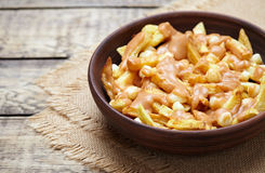 Poutine Canadian homemade traditional fast food meal with fries, curd Royalty Free Stock Images