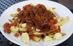 Poutine canadien de saucisse et de sauce au jus Image stock