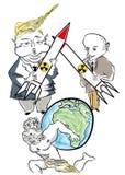 Poutine contre Donald Trump Cartoon Caricature illustration libre de droits