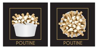Poutine Quebec meal with french fries, gravy and cheese curds. Over a black background design illustration vector vector illustration