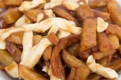 Poutine Quebec posiłek z francuskimi dłoniakami Obrazy Stock