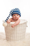 Pouting Baby Boy Wearing a Stocking Cap. A 4 month old baby boy wearing a stocking cap. He is sitting in a wire basket with clenched fists and a pouting Stock Photography