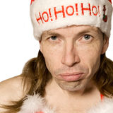 Pouting christmas man stock image