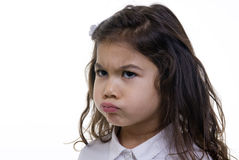Pouting Girl. A young girl is pouting about something Stock Photography