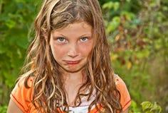 做Pouty的基本的年迈的女孩面对 免版税库存图片