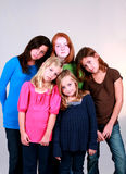 Pouty Girls. Diverse group of pretty preteen girls frowning Stock Photography