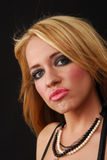 Pouty Woman. A beautiful blond woman pouting Royalty Free Stock Images