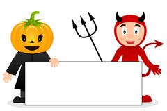 Épouvantail et diable rouge avec la bannière vide Images stock