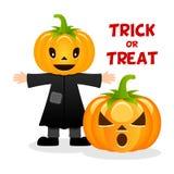 Épouvantail et potiron Halloween heureux Photographie stock
