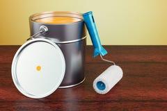 Pouvez avec la brosse de peinture et de rouleau sur la table en bois renderin 3D Image stock