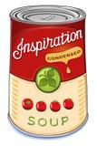 Pouvez de l'inspiration condensée de soupe à tomate Photographie stock