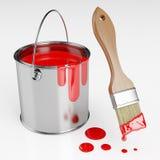 Pouvez de la peinture rouge Photo libre de droits