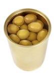 Pouvez des olives vertes Images stock