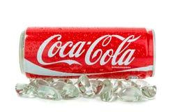 Pouvez du coca-cola sur la glace Image libre de droits