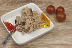 Pouvez du thon, un repas sain avec des légumes Images stock