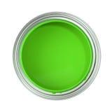 Pouvez rempli de peinture verte Photographie stock