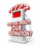 Pouvez vous atteindre votre pompe à combustible gazeux de mots de destination Photo stock