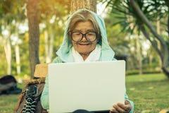 Pouvoir d'achat de grand-maman sur le marché en ligne Images stock