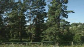 POV:在小镇和森林附近的高速列车移动 股票视频
