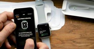POV και πρώτη προβολή της σειράς 3 ρολογιών της Apple Στοκ Φωτογραφίες