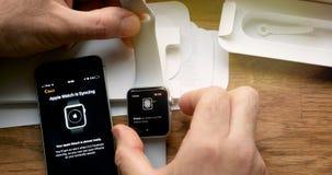 POV και πρώτη προβολή της σειράς 3 ρολογιών της Apple Στοκ Φωτογραφία