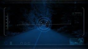 POV κηφήνων δάσος κατά μήκος του δρόμου τη νύχτα ελεύθερη απεικόνιση δικαιώματος
