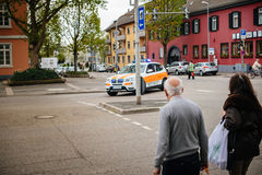 POV at Ambulance arriving fast at accident place in German city Stock Images