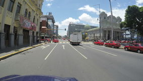 POV of the Avenida Central Street on May 6, 2015 in San Jose, Costa Rica stock video