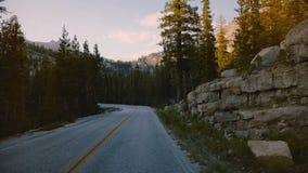 POV-camera in auto die zich langs mooie bosbergweg tussen rotsen op zonsondergang in Yosemite-park langzame motie bewegen stock video