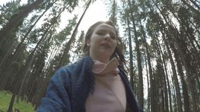 POV of chased panicked young woman running away in mountain wood  -. POV of chased panicked young woman running away in mountain wood stock video