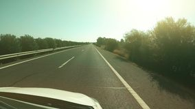 POV driving shot of a rural highway in Spain