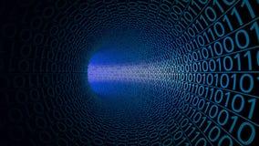 Pov-Flug durch den abstrakten blauen Tunnel hergestellt mit null und einen High-Techer Bewegungshintergrund IT, binäre Datenübert stock abbildung