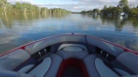 POV från Ski Boat på Murray River Australia arkivfilmer