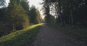 Pov går skottet i löst parkerar i september på solnedgången Fotografering för Bildbyråer