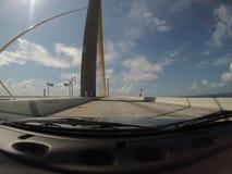 POV going over bridge. POV going over sunshine skyway bridge from inside of dash stock photo