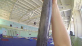POV Gymnast climbing down on a rope Slow Motion stock footage