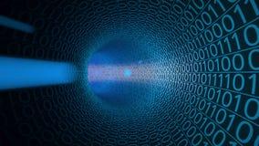 POV lot przez abstrakcjonistycznego błękitnego tunelu robić z zero i ones cześć technika tło Komunikacja, binarny dane Obraz Royalty Free