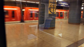 POV metro subway train arrives to station. Hamburg, Germany - October, 10, 2016: POV metro subway train arrives to station. People at subway metro underground Stock Images