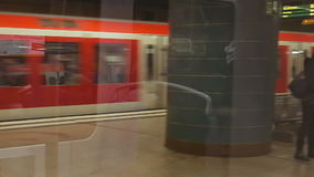 POV metro subway train arrives to station stock footage