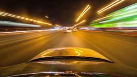 Pov night driving hyperlapse at a modern highway passing a series of tunnels. stock video footage