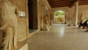 POV of person at archeology museum with ancient sculptures, tourist attraction. Stock footage stock video
