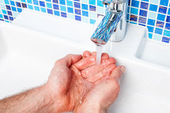 POV person washing hands Royalty Free Stock Image