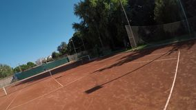 Point of view of tennis match between two girls. POV point of view of tennis match between two girls stock video