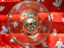 POV regardant dans le verre à moitié plein de boisson sur l'érable rouge et blanc photographie stock libre de droits